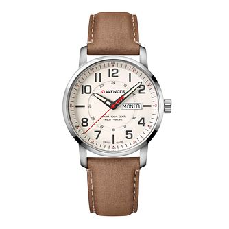 Wenger Attitude Men's Light Brown Leather Strap Watch - Product number 8368139
