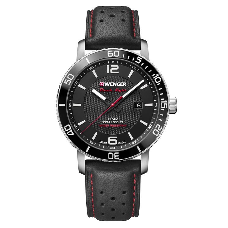 Wenger Roadster Black Night Men's Black Leather Strap Watch - Product number 8368473