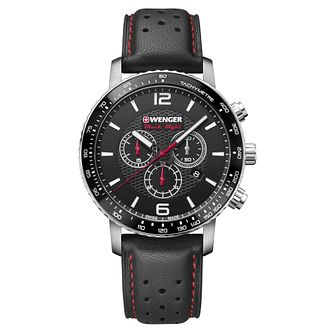 Wenger Roadster Black Night Men's Black Leather Strap Watch - Product number 8368511