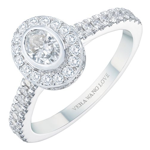 Vera Wang 18ct White Gold 0.70ct Diamond Oval Halo Ring - Product number 8370095