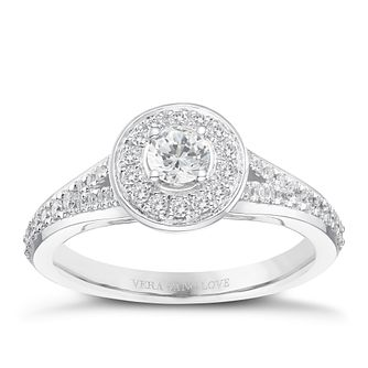 Vera Wang 18ct White Gold 0.45ct Diamond Halo Ring - Product number 8370230