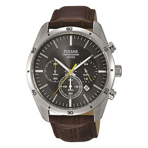 Pulsar Men's Brown Leather Strap Watch - Product number 8375615