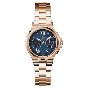 GC Structura Ladies' Rose Gold Plated Blue Bracelet Watch - Product number 8376417