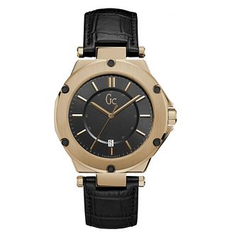 Gc 3 Men's Rose Gold Plated Black Strap Watch - Product number 8376441