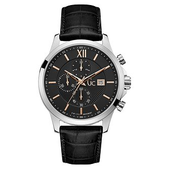 GC Executive Men's Stainless Steel Black Leather Strap Watch - Product number 8376514