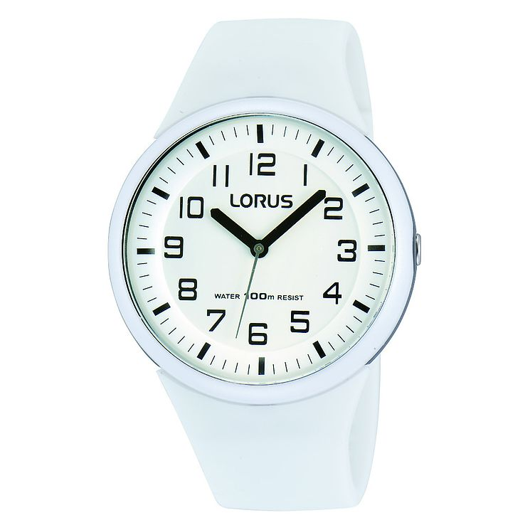 Lorus Ladies' White Silicone Strap Watch - Product number 8376751