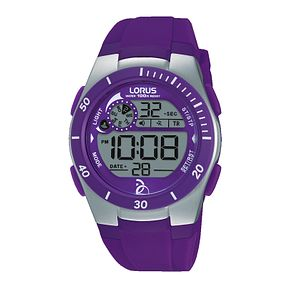Lorus Ladies' Purple Silicone Strap Digital Watch - Product number 8376778