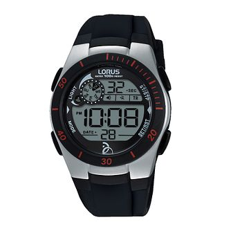 Lorus Ladies' Black Silicone Strap Digital Watch - Product number 8376786