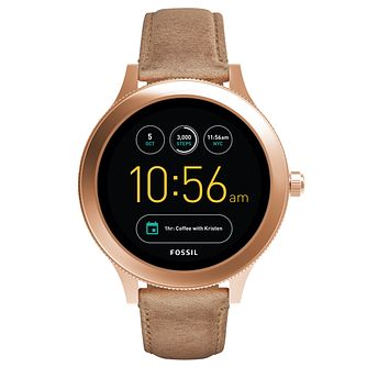 Fossil Q Ladies' Brown Leather Strap Smartwatch - Product number 8379416