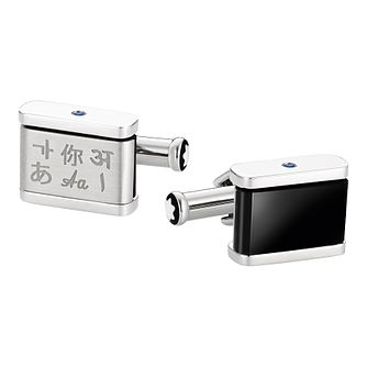 Montblanc Men's Stainless Steel Onyx Cufflinks - Product number 8383375