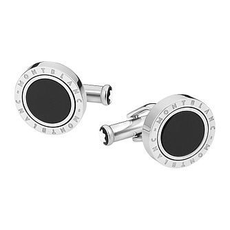 Montblanc Men's Stainless Steel Onyx Cufflinks - Product number 8383421