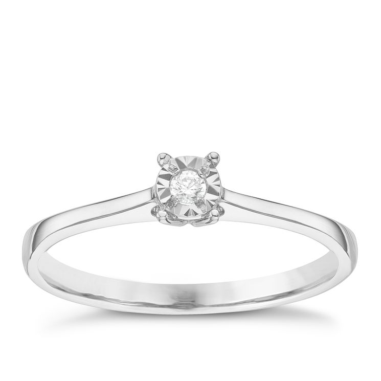 9ct White Gold Diamond Solitaire Ring - Product number 8383650