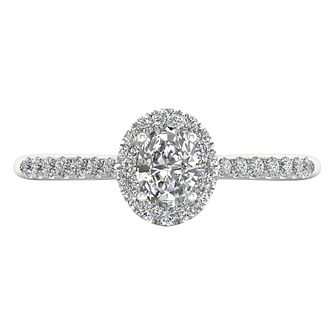 The Diamond Story 18ct White Gold 0.50ct Oval Halo Ring - Product number 8388687