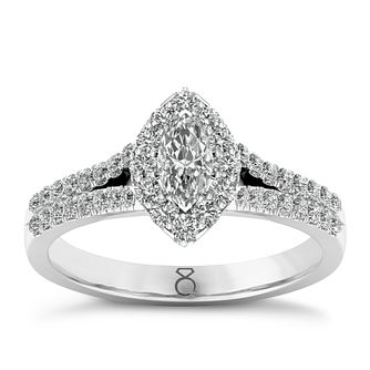 The Diamond Story 18ct White Gold 0.66ct Marquise Halo Ring - Product number 8389187