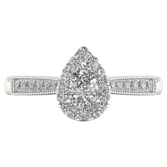 The Diamond Story 18ct White Gold 0.50ct Pear Halo Ring - Product number 8389314