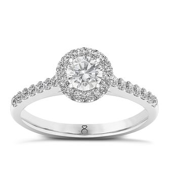 The Diamond Story 18ct White Gold 0.66ct Round Halo Ring - Product number 8389454