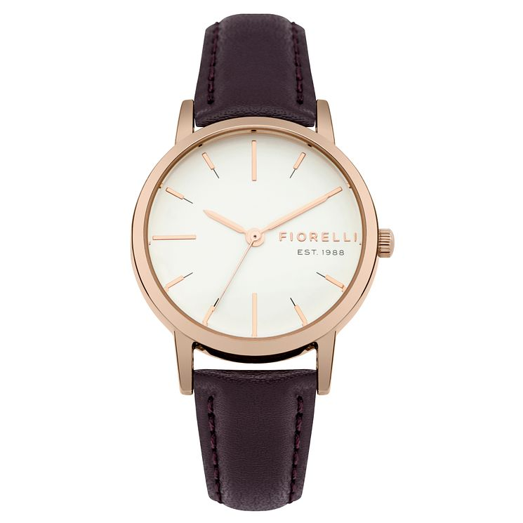 Fiorelli Ladies' Aubergine Leather Strap Watch - Product number 8389691