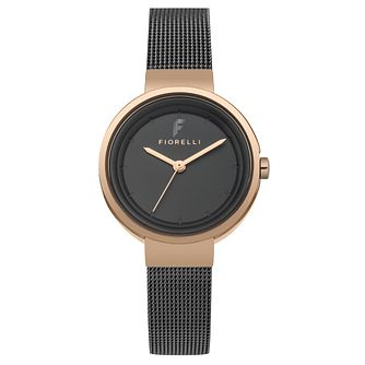Fiorelli Ladies' Gunmetal Alloy Mesh Strap Watch - Product number 8389888