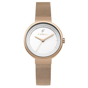 Fiorelli Ladies' Rose Gold Alloy Mesh Strap Watch - Product number 8389896