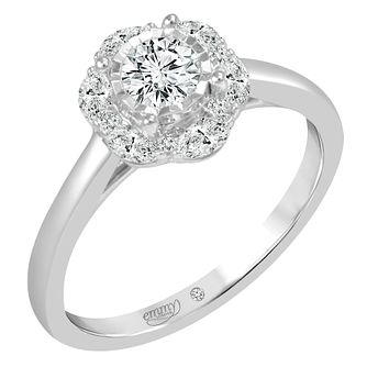 Emmy London 18 Carat White Gold 2/3 Carat Diamond Halo Ring - Product number 8390800