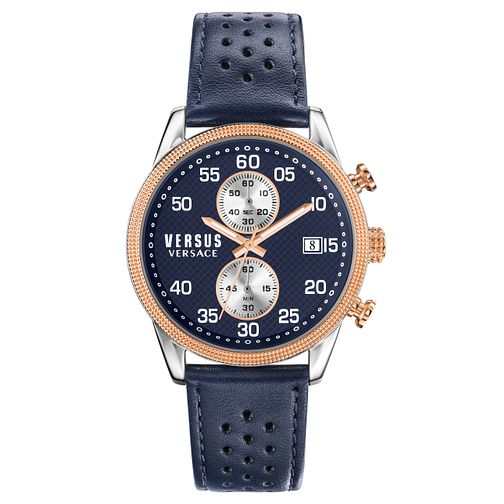 Versus Versace Men's Blue Leather Strap Watch - Product number 8391246