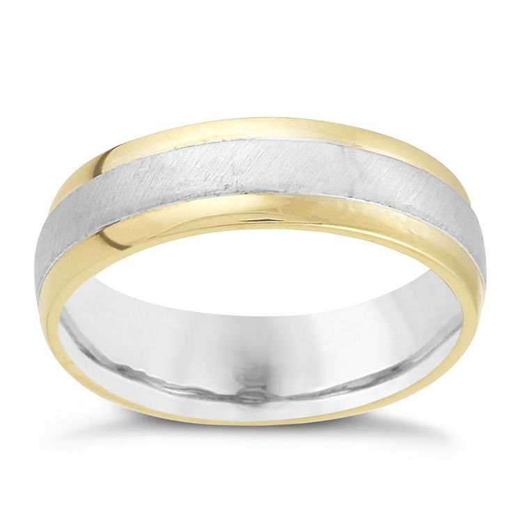 Men's 9ct Gold and Sterling Silver 6mm Ring - Product number 8393524