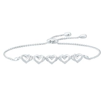 Vera Wang Ladies Sterling Silver Diamond Adjustable Bracelet - Product number 8395314