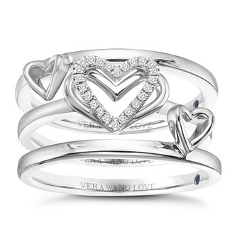 Vera Wang Sterling Silver Diamond Stacking Rings Set - Product number 8395489