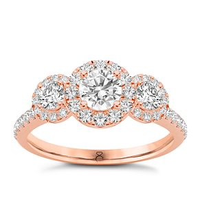 The Diamond Story 18ct Rose Gold 1 Carat Triple Halo Ring - Product number 8395918