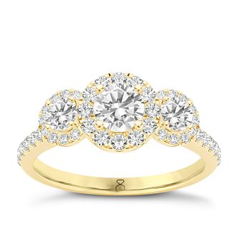 The Diamond Story 18ct Yellow Gold 1 Carat Triple Halo Ring - Product number 8396035