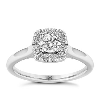 The Diamond Story Platinum 0.50ct Cushion Halo Ring - Product number 8397074