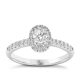 The Diamond Story Platinum 0.50ct Oval Halo Ring - Product number 8397910