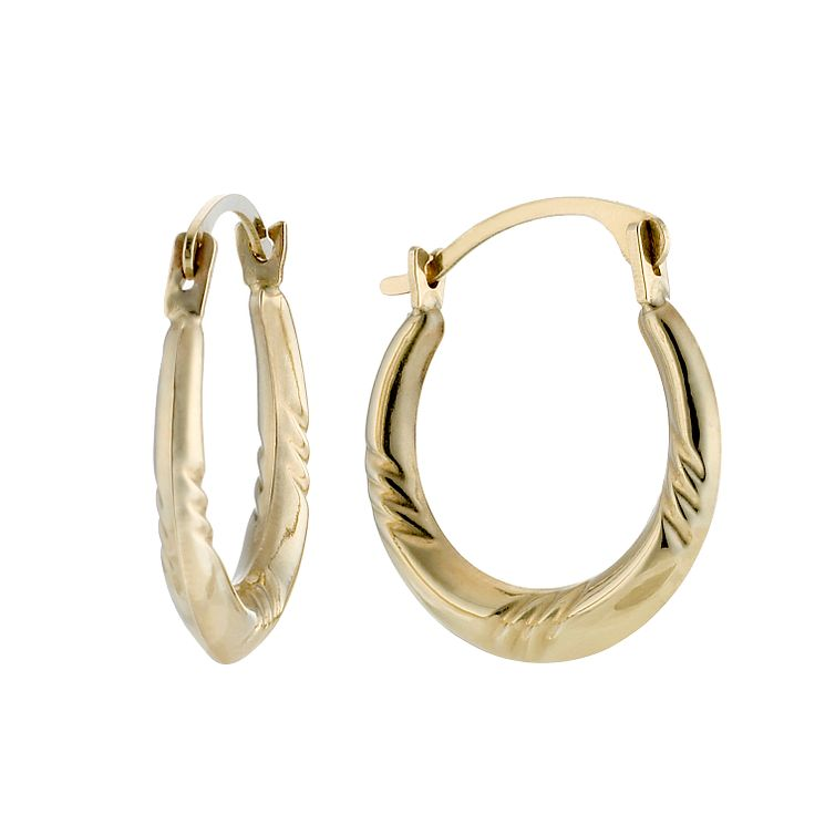 9ct Gold Diamond Cut Creole Earrings Small - Product number 8399964