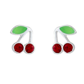 Sterling Silver Crystal Children's Cherry Stud Earrings - Product number 8400113
