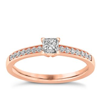 The Diamond Story 18ct Rose Gold 0.33ct Princess Cut Ring - Product number 8400369