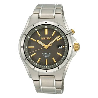 Seiko Kinetic Men's Two Tone Titanium Bracelet Watch - Product number 8400784