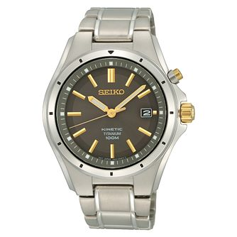 Seiko Kinetic Men's Stainless Steel Black Bracelet Watch - Product number 8402469