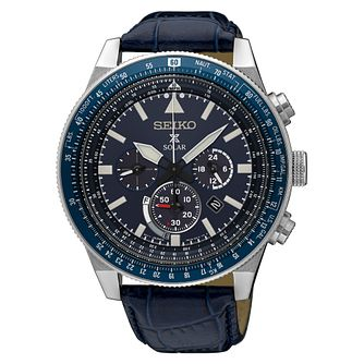 Seiko Prospex Solar Men's Blue Chronograph Strap Watch - Product number 8402485