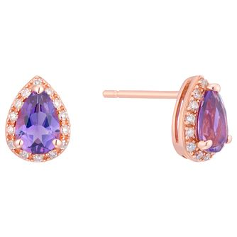 9ct Rose Gold Pear Shape Amethyst And Diamond Earrings - Product number 8405220