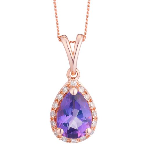 9ct Rose Gold Pear Shape Amethyst And Diamond Pedant - Product number 8405247