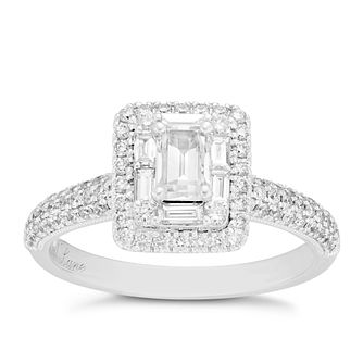 Neil Lane 14ct White Gold 0.98ct Diamond Emerald Cut Ring - Product number 8405255