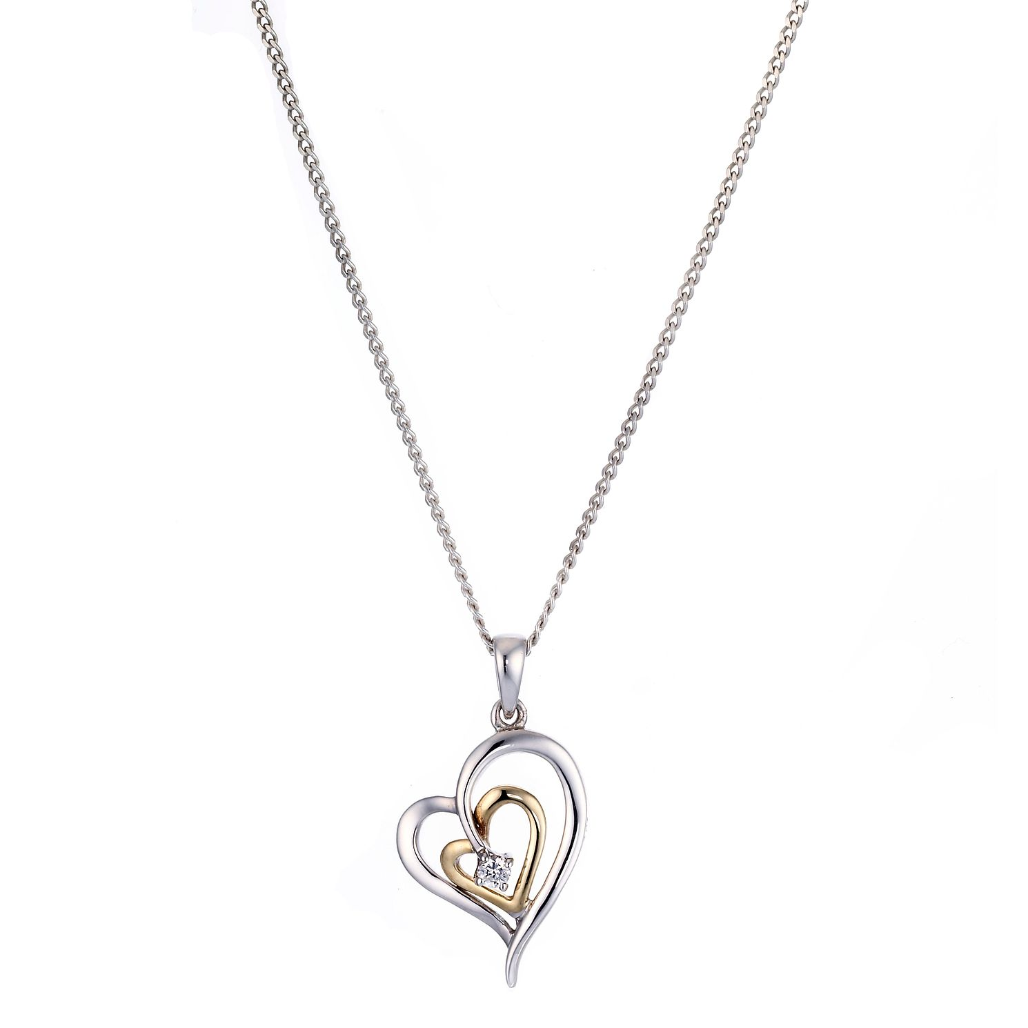 diamond charm necklace infinity centres product sterling heart silver