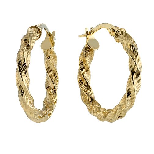 9ct Gold Diamond Cut Round Twist Creole Earrings - Product number 8409862