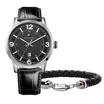 Tommy Hilfiger Men's Leather Strap Watch & Bracelet Gift Set - Product number 8410623