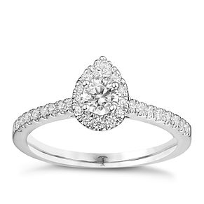 Tolkowsky Platinum 1/2ct Diamond Pear Halo Ring - Product number 8413142