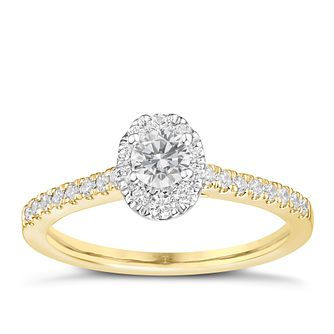 Tolkowsky 18ct Yellow Gold 0.50ct Oval Diamond Halo Ring - Product number 8413274