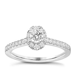 Tolkowsky Platinum 1/2ct Oval Diamond Halo Ring - Product number 8413533