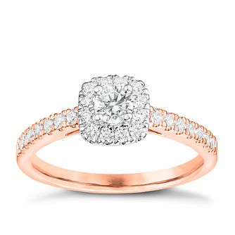 Tolkowsky 18ct Rose Gold 1/2ct Cushion Halo Diamond Ring - Product number 8413800