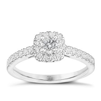 Tolkowsky Platinum 0.50ct Cushion Diamond Halo Ring - Product number 8413940
