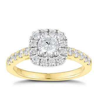 Tolkowsky 18ct Yellow Gold 1ct Cushion Halo Diamond Ring - Product number 8414475